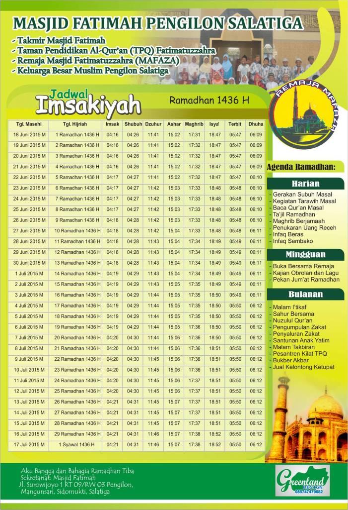 Jadwal Imsakiyah Ramadhan 1436 H 2015